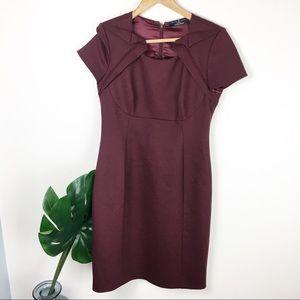 Elle Tahari x Nordstrom | maroon wool sheath dress